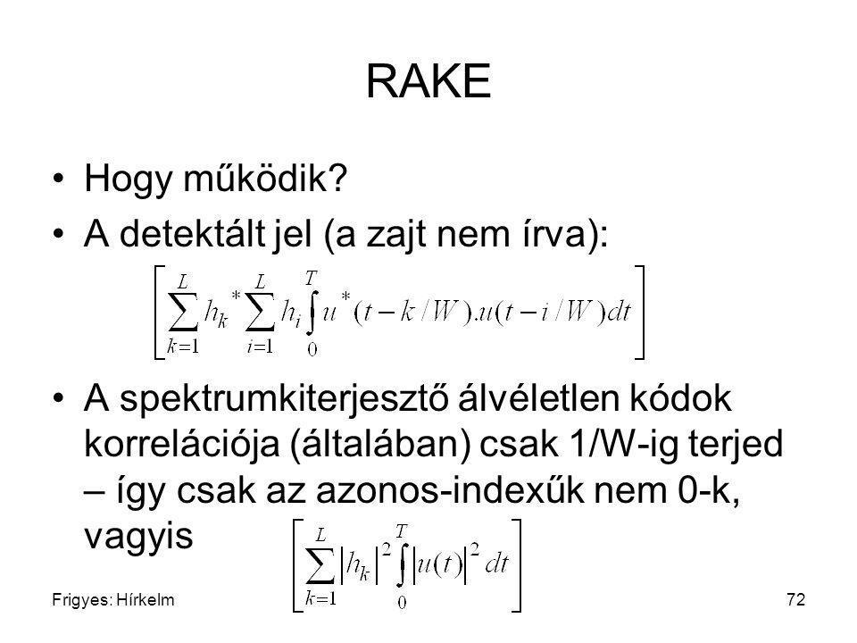 Frigyes: Hírkelm72 RAKE Hogy működik? A detektált jel (a zajt nem írva): A spektrumkiterjesztő álvéletlen kódok korrelációja (általában) csak 1/W-ig t