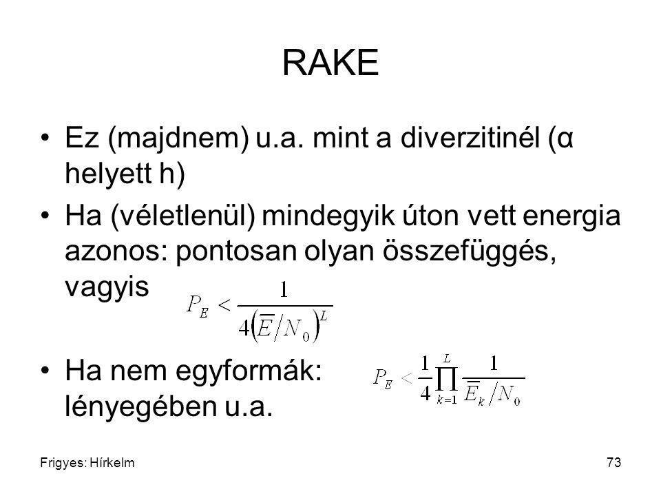 Frigyes: Hírkelm73 RAKE Ez (majdnem) u.a. mint a diverzitinél (α helyett h) Ha (véletlenül) mindegyik úton vett energia azonos: pontosan olyan összefü