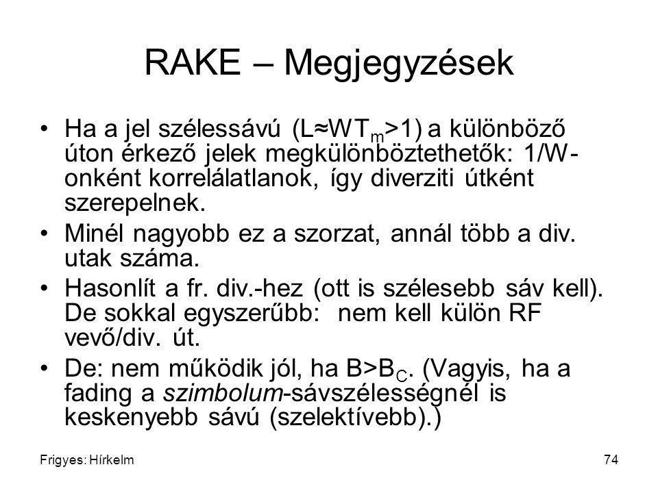 Frigyes: Hírkelm74 RAKE – Megjegyzések Ha a jel szélessávú (L≈WT m >1) a különböző úton érkező jelek megkülönböztethetők: 1/W- onként korrelálatlanok,