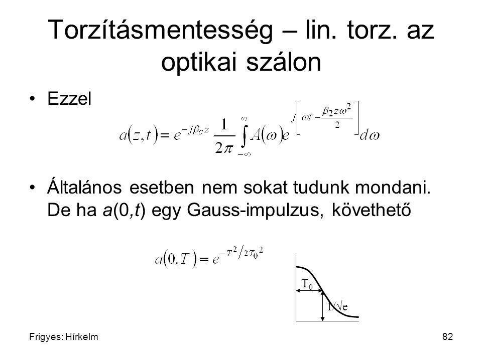 Frigyes: Hírkelm82 Torzításmentesség – lin. torz. az optikai szálon Ezzel Általános esetben nem sokat tudunk mondani. De ha a(0,t) egy Gauss-impulzus,