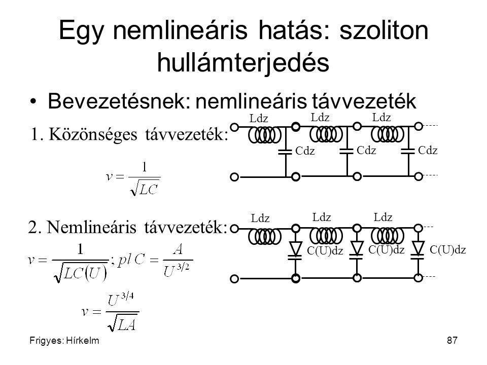 Frigyes: Hírkelm87 Egy nemlineáris hatás: szoliton hullámterjedés Bevezetésnek: nemlineáris távvezeték 1. Közönséges távvezeték: Ldz Cdz Ldz Cdz Ldz C