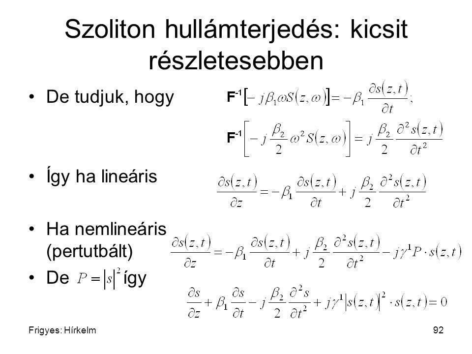 Frigyes: Hírkelm92 Szoliton hullámterjedés: kicsit részletesebben De tudjuk, hogy Így ha lineáris Ha nemlineáris (pertutbált) Deígy
