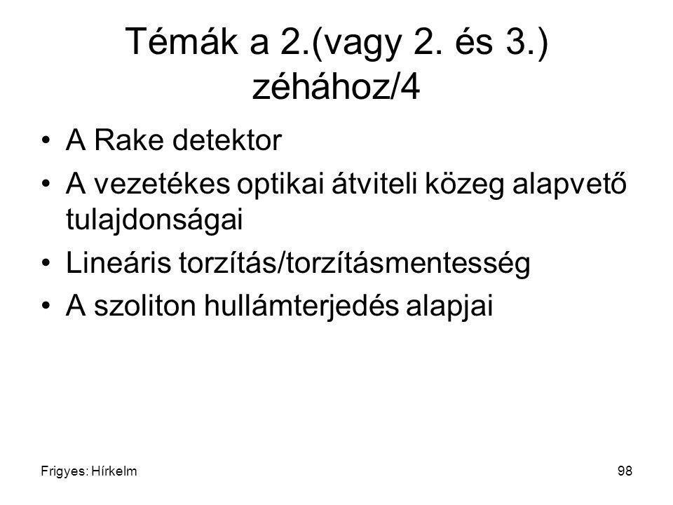 Frigyes: Hírkelm98 Témák a 2.(vagy 2. és 3.) zéhához/4 A Rake detektor A vezetékes optikai átviteli közeg alapvető tulajdonságai Lineáris torzítás/tor