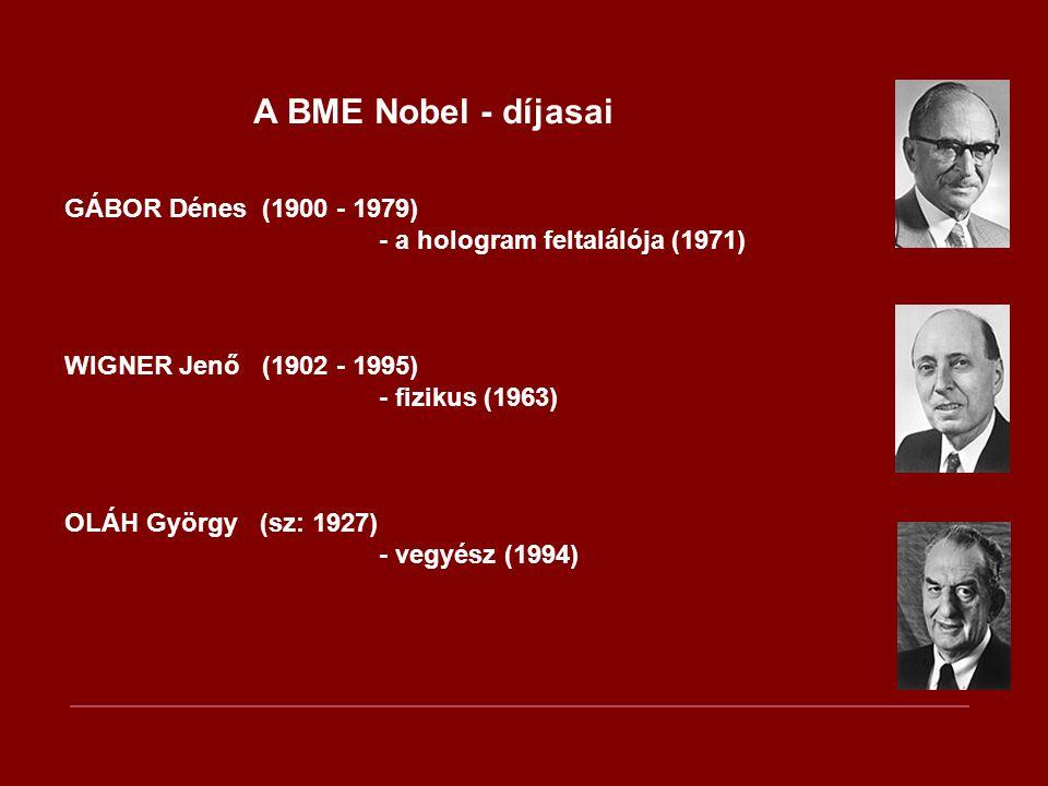 A BME Nobel - díjasai GÁBOR Dénes (1900 - 1979) - a hologram feltalálója (1971) WIGNER Jenő (1902 - 1995) - fizikus (1963) OLÁH György (sz: 1927) - ve