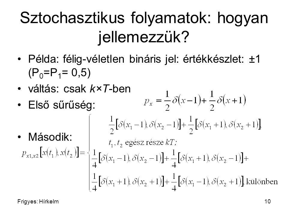 Frigyes: Hírkelm10 Sztochasztikus folyamatok: hogyan jellemezzük? Példa: félig-véletlen bináris jel: értékkészlet: ±1 (P 0 =P 1 = 0,5) váltás: csak k×