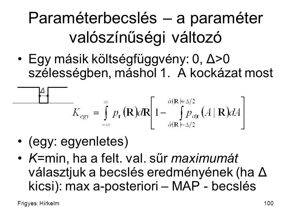Frigyes: Hírkelm100 Paraméterbecslés – a paraméter valószínűségi változó Egy másik költségfüggvény: 0, Δ>0 szélességben, máshol 1. A kockázat most (eg