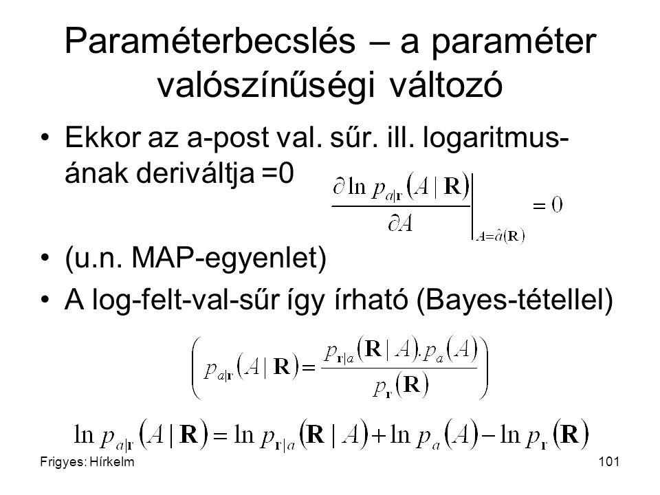 Frigyes: Hírkelm101 Paraméterbecslés – a paraméter valószínűségi változó Ekkor az a-post val. sűr. ill. logaritmus- ának deriváltja =0 (u.n. MAP-egyen