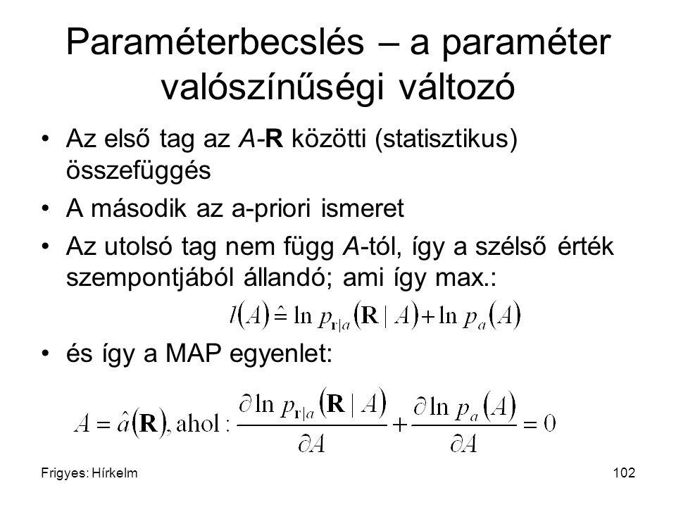 Frigyes: Hírkelm102 Paraméterbecslés – a paraméter valószínűségi változó Az első tag az A-R közötti (statisztikus) összefüggés A második az a-priori i