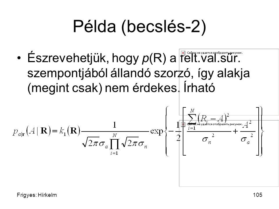 Frigyes: Hírkelm105 Példa (becslés-2) Észrevehetjük, hogy p(R) a felt.val.sűr. szempontjából állandó szorzó, így alakja (megint csak) nem érdekes. Írh