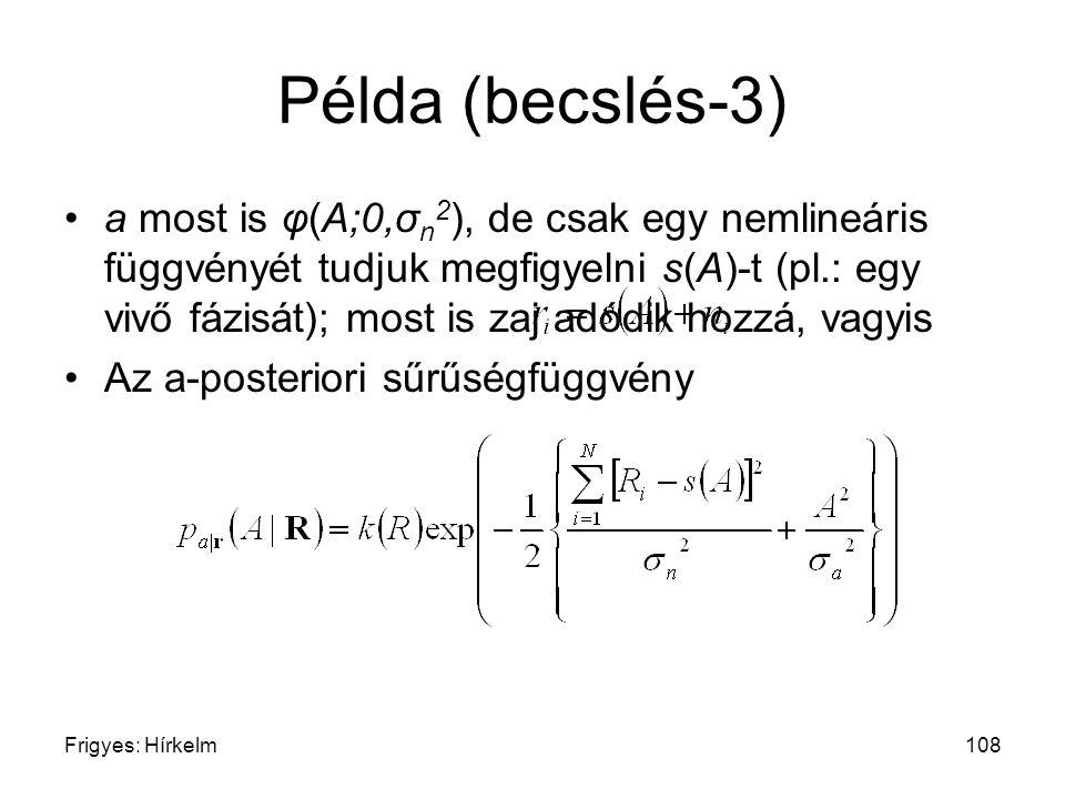 Frigyes: Hírkelm108 Példa (becslés-3) a most is φ(A;0,σ n 2 ), de csak egy nemlineáris függvényét tudjuk megfigyelni s(A)-t (pl.: egy vivő fázisát); m