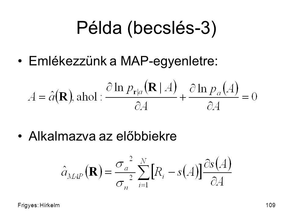 Frigyes: Hírkelm109 Példa (becslés-3) Emlékezzünk a MAP-egyenletre: Alkalmazva az előbbiekre