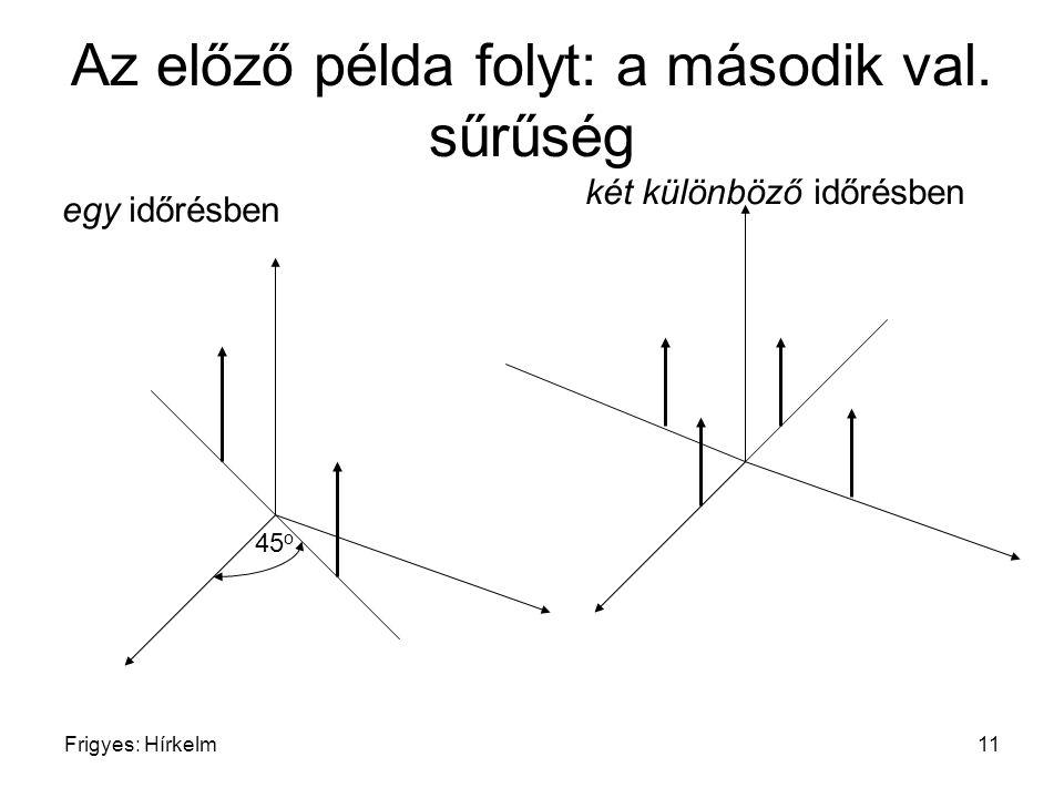 Frigyes: Hírkelm11 Az előző példa folyt: a második val. sűrűség egy időrésben két különböző időrésben 45 o