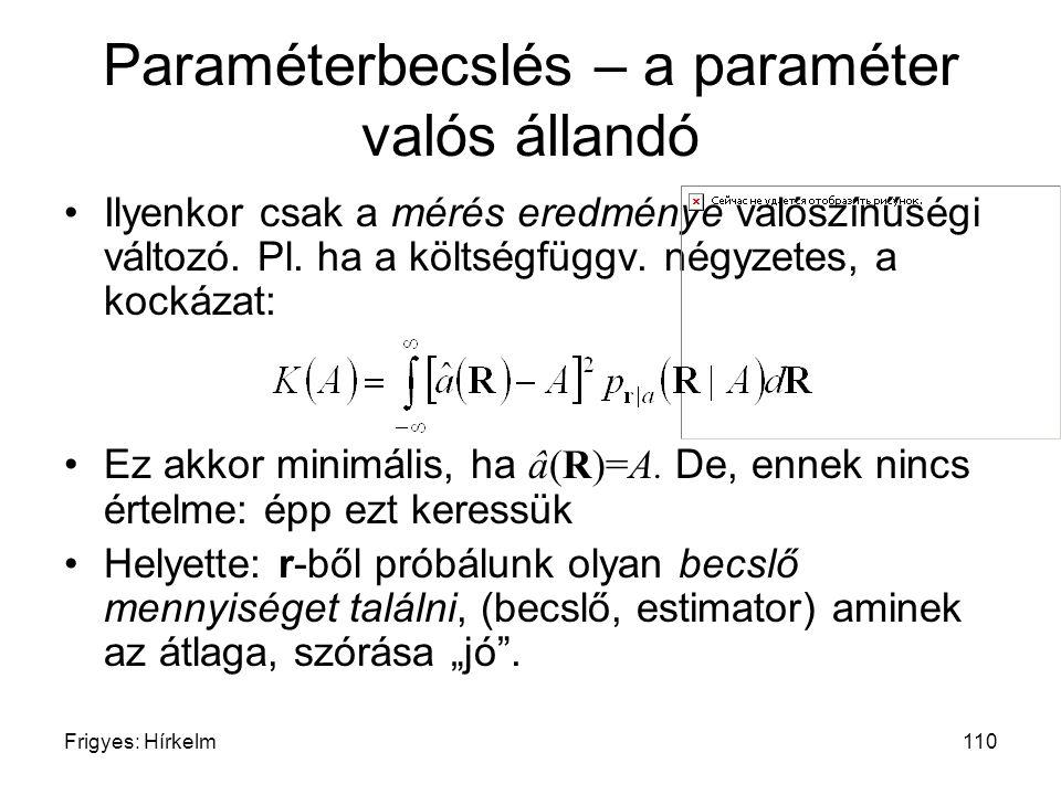 Frigyes: Hírkelm110 Paraméterbecslés – a paraméter valós állandó Ilyenkor csak a mérés eredménye valószínűségi változó. Pl. ha a költségfüggv. négyzet