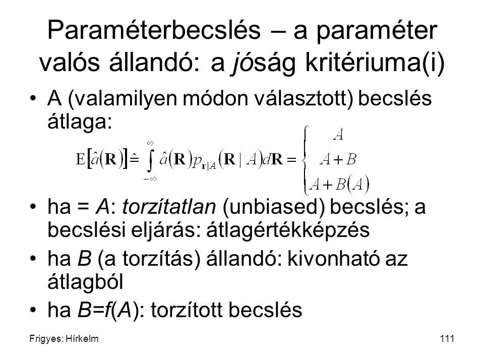 Frigyes: Hírkelm111 Paraméterbecslés – a paraméter valós állandó: a jóság kritériuma(i) A (valamilyen módon választott) becslés átlaga: ha = A: torzít
