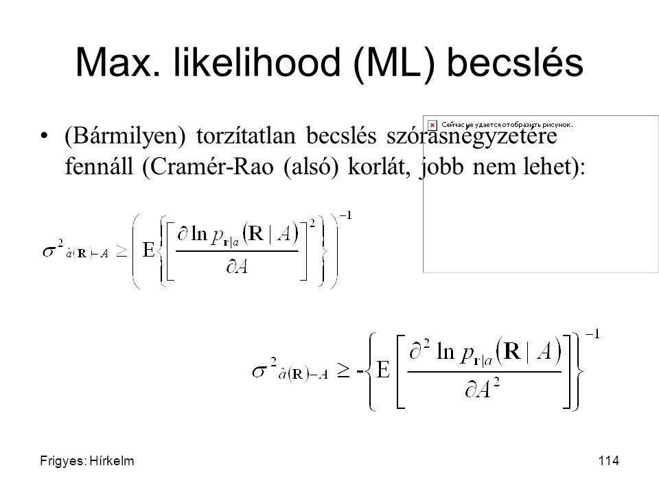 Frigyes: Hírkelm114 Max. likelihood (ML) becslés (Bármilyen) torzítatlan becslés szórásnégyzetére fennáll (Cramér-Rao (alsó) korlát, jobb nem lehet):