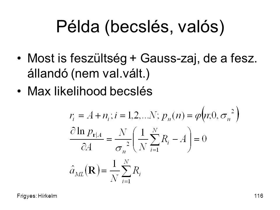 Frigyes: Hírkelm116 Példa (becslés, valós) Most is feszültség + Gauss-zaj, de a fesz. állandó (nem val.vált.) Max likelihood becslés