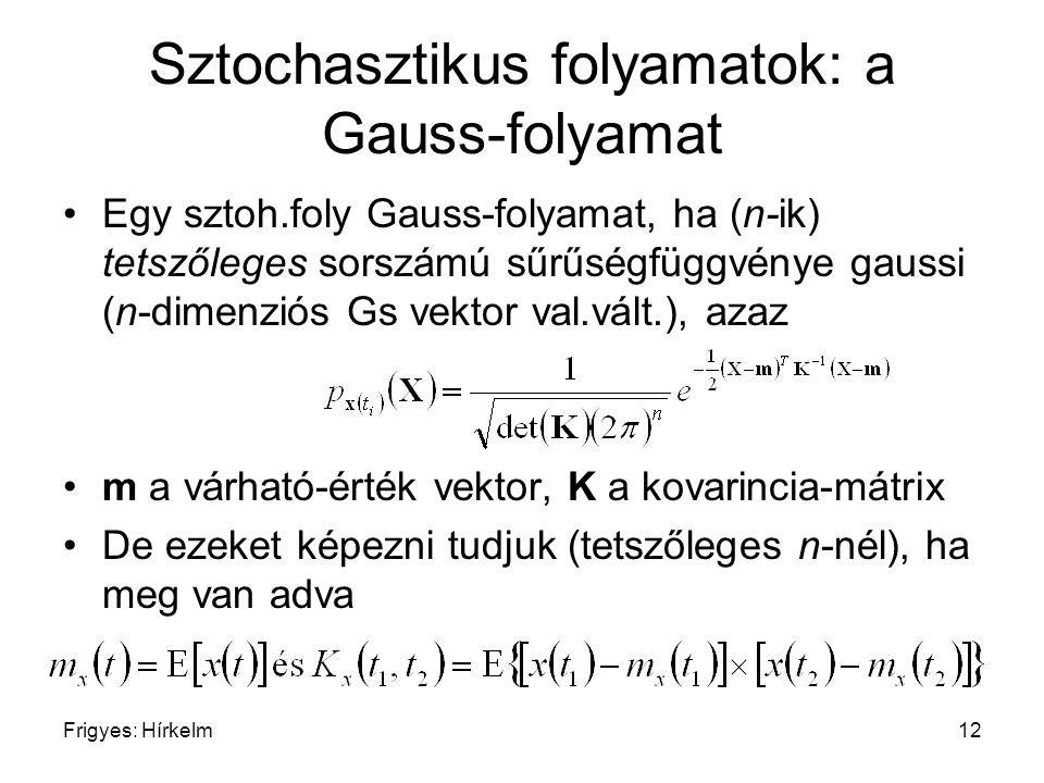 Frigyes: Hírkelm12 Sztochasztikus folyamatok: a Gauss-folyamat Egy sztoh.foly Gauss-folyamat, ha (n-ik) tetszőleges sorszámú sűrűségfüggvénye gaussi (