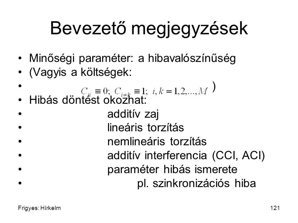 Frigyes: Hírkelm121 Bevezető megjegyzések Minőségi paraméter: a hibavalószínűség (Vagyis a költségek: ) Hibás döntést okozhat: additív zaj lineáris to