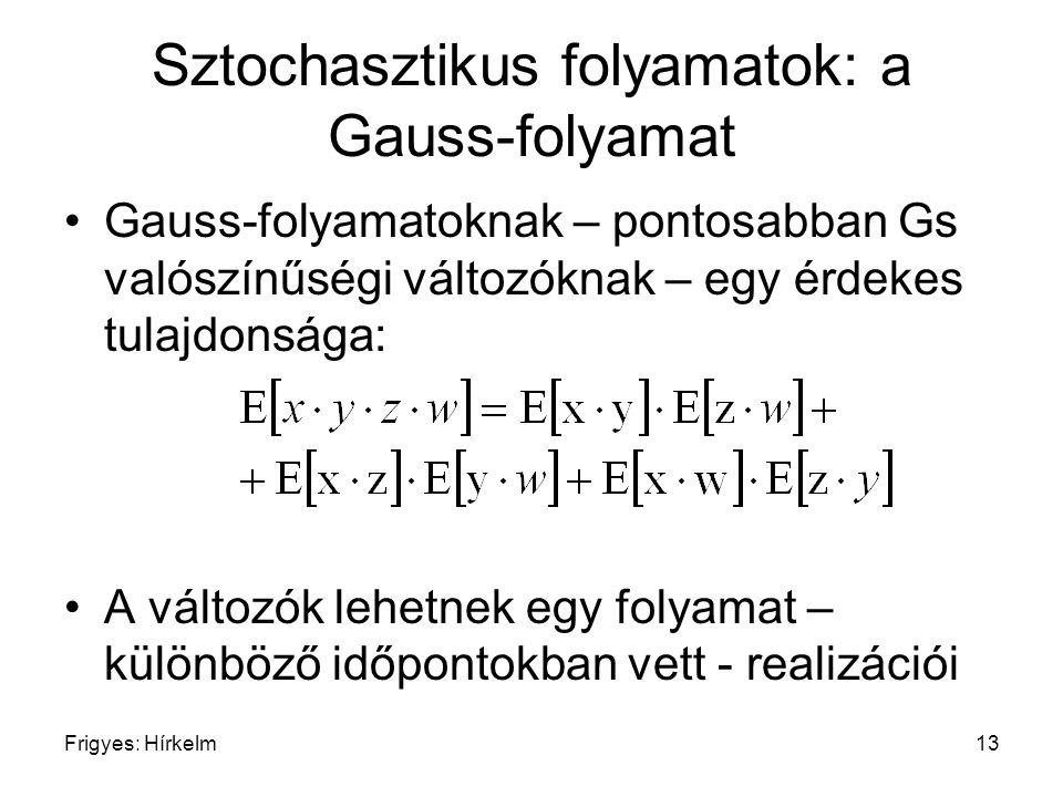Frigyes: Hírkelm13 Sztochasztikus folyamatok: a Gauss-folyamat Gauss-folyamatoknak – pontosabban Gs valószínűségi változóknak – egy érdekes tulajdonsá