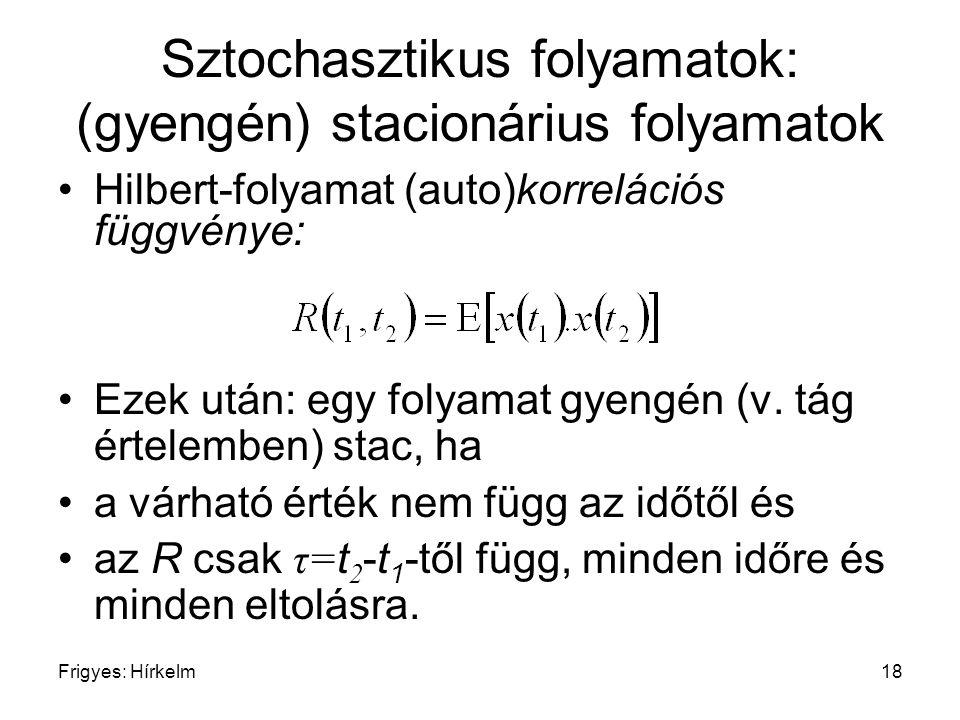 Frigyes: Hírkelm18 Sztochasztikus folyamatok: (gyengén) stacionárius folyamatok Hilbert-folyamat (auto)korrelációs függvénye: Ezek után: egy folyamat