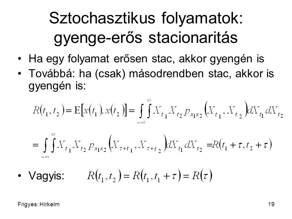 Frigyes: Hírkelm19 Sztochasztikus folyamatok: gyenge-erős stacionaritás Ha egy folyamat erősen stac, akkor gyengén is Továbbá: ha (csak) másodrendben