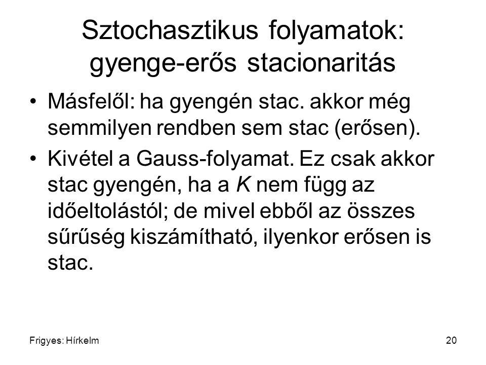 Frigyes: Hírkelm20 Sztochasztikus folyamatok: gyenge-erős stacionaritás Másfelől: ha gyengén stac. akkor még semmilyen rendben sem stac (erősen). Kivé