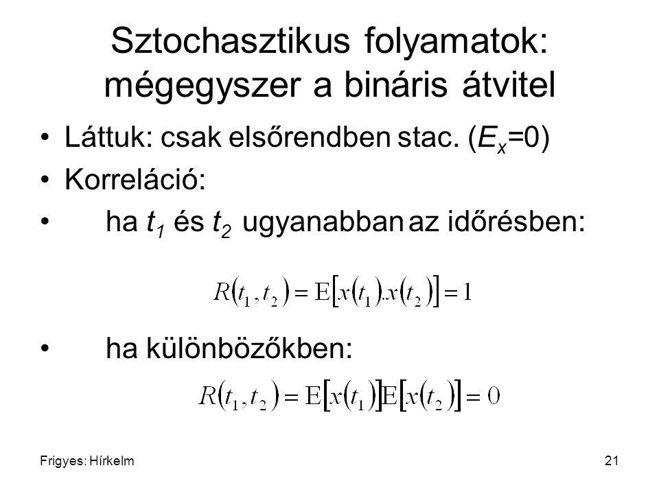 Frigyes: Hírkelm21 Sztochasztikus folyamatok: mégegyszer a bináris átvitel Láttuk: csak elsőrendben stac. (E x =0) Korreláció: ha t 1 és t 2 ugyanabba