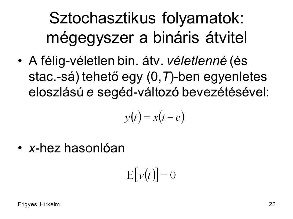 Frigyes: Hírkelm22 Sztochasztikus folyamatok: mégegyszer a bináris átvitel A félig-véletlen bin. átv. véletlenné (és stac.-sá) tehető egy (0,T)-ben eg