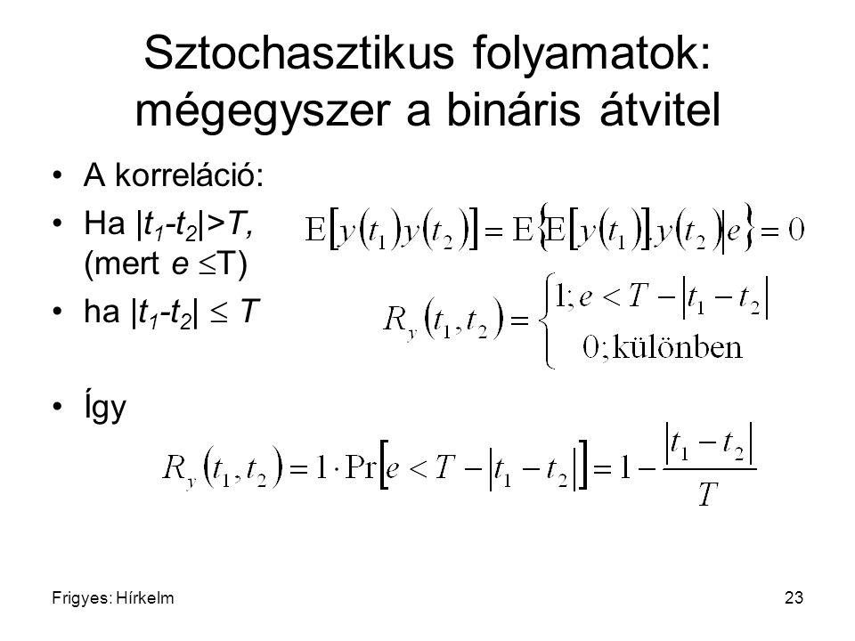 Frigyes: Hírkelm23 Sztochasztikus folyamatok: mégegyszer a bináris átvitel A korreláció: Ha |t 1 -t 2 |>T, (mert e  T) ha |t 1 -t 2 |  T Így