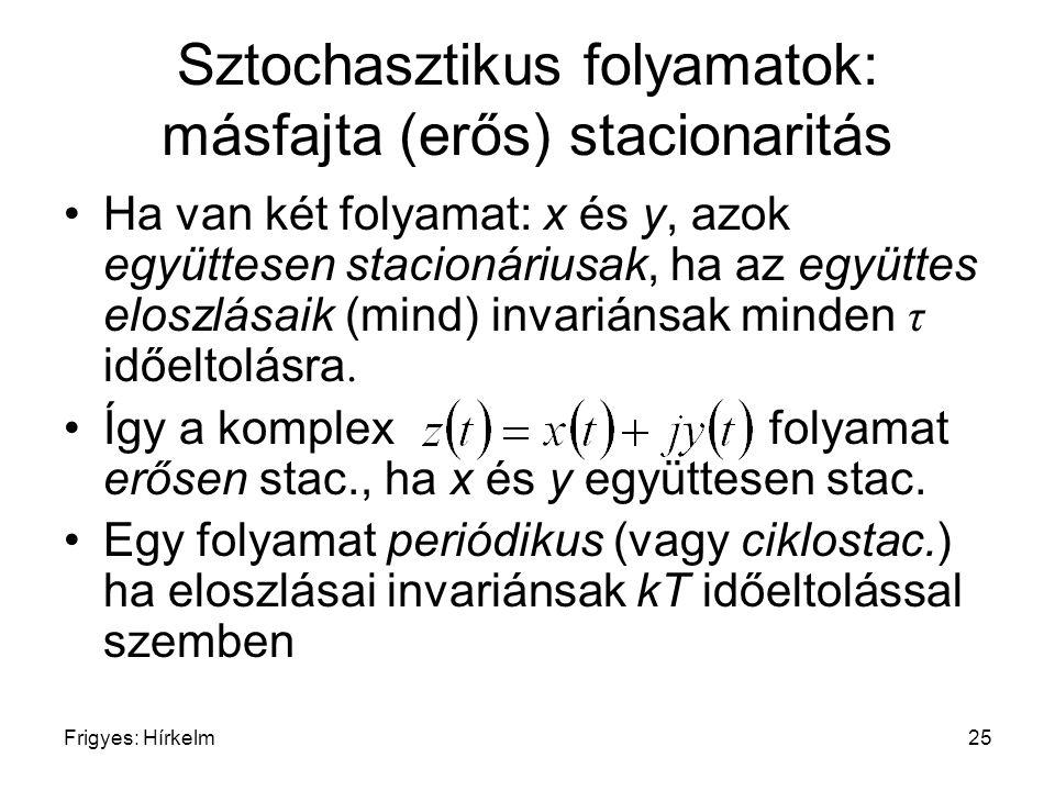 Frigyes: Hírkelm25 Sztochasztikus folyamatok: másfajta (erős) stacionaritás Ha van két folyamat: x és y, azok együttesen stacionáriusak, ha az együtte