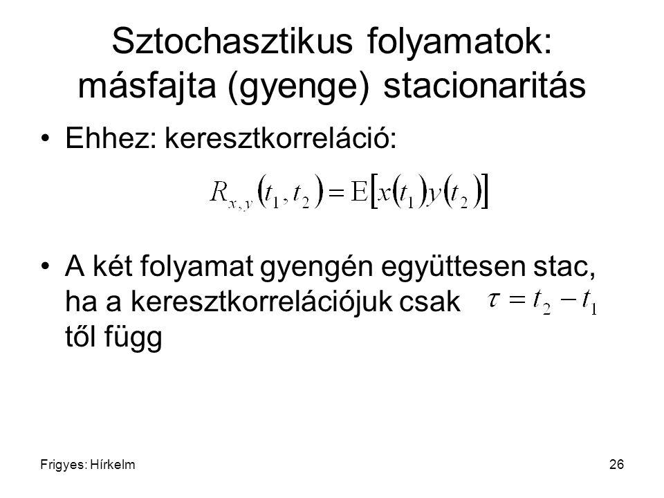 Frigyes: Hírkelm26 Sztochasztikus folyamatok: másfajta (gyenge) stacionaritás Ehhez: keresztkorreláció: A két folyamat gyengén együttesen stac, ha a k