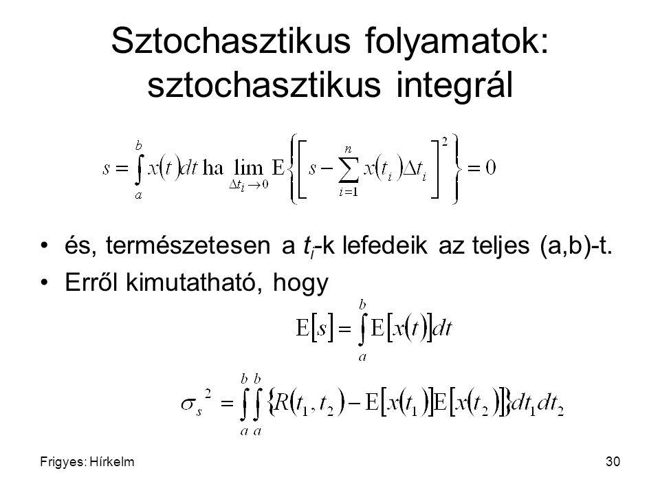 Frigyes: Hírkelm30 Sztochasztikus folyamatok: sztochasztikus integrál és, természetesen a t i -k lefedeik az teljes (a,b)-t. Erről kimutatható, hogy