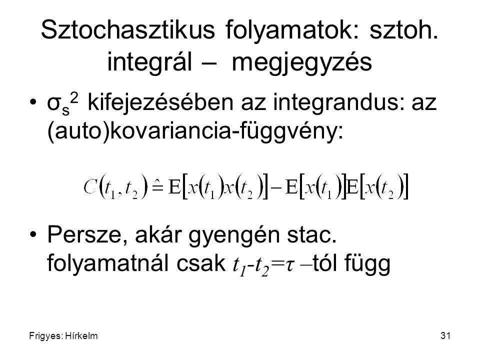 Frigyes: Hírkelm31 Sztochasztikus folyamatok: sztoh. integrál – megjegyzés σ s 2 kifejezésében az integrandus: az (auto)kovariancia-függvény: Persze,