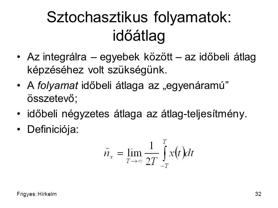 Frigyes: Hírkelm32 Sztochasztikus folyamatok: időátlag Az integrálra – egyebek között – az időbeli átlag képzéséhez volt szükségünk. A folyamat időbel