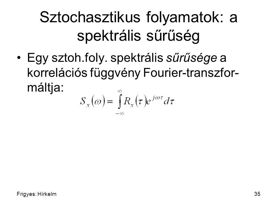 Frigyes: Hírkelm35 Sztochasztikus folyamatok: a spektrális sűrűség Egy sztoh.foly. spektrális sűrűsége a korrelációs függvény Fourier-transzfor- máltj