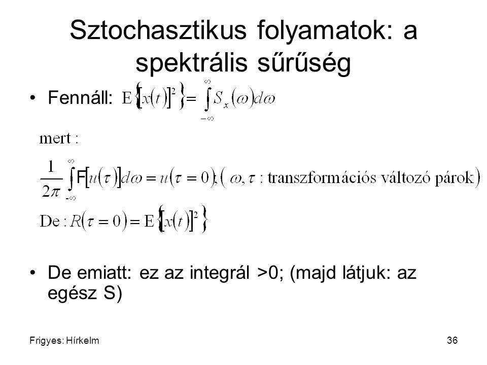 Frigyes: Hírkelm36 Sztochasztikus folyamatok: a spektrális sűrűség Fennáll: De emiatt: ez az integrál >0; (majd látjuk: az egész S)