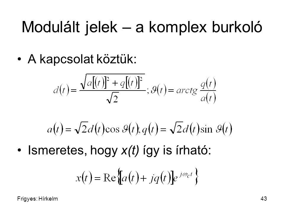 Frigyes: Hírkelm43 Modulált jelek – a komplex burkoló A kapcsolat köztük: Ismeretes, hogy x(t) így is írható: