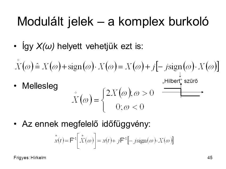 """Frigyes: Hírkelm45 Modulált jelek – a komplex burkoló Így X(ω) helyett vehetjük ezt is: Mellesleg Az ennek megfelelő időfüggvény: ↓ """"Hilbert"""" szűrő"""