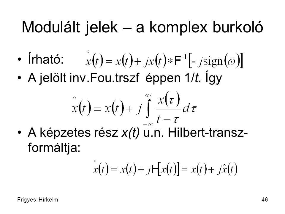 Frigyes: Hírkelm46 Modulált jelek – a komplex burkoló Írható: A jelölt inv.Fou.trszf éppen 1/t. Így A képzetes rész x(t) u.n. Hilbert-transz- formáltj
