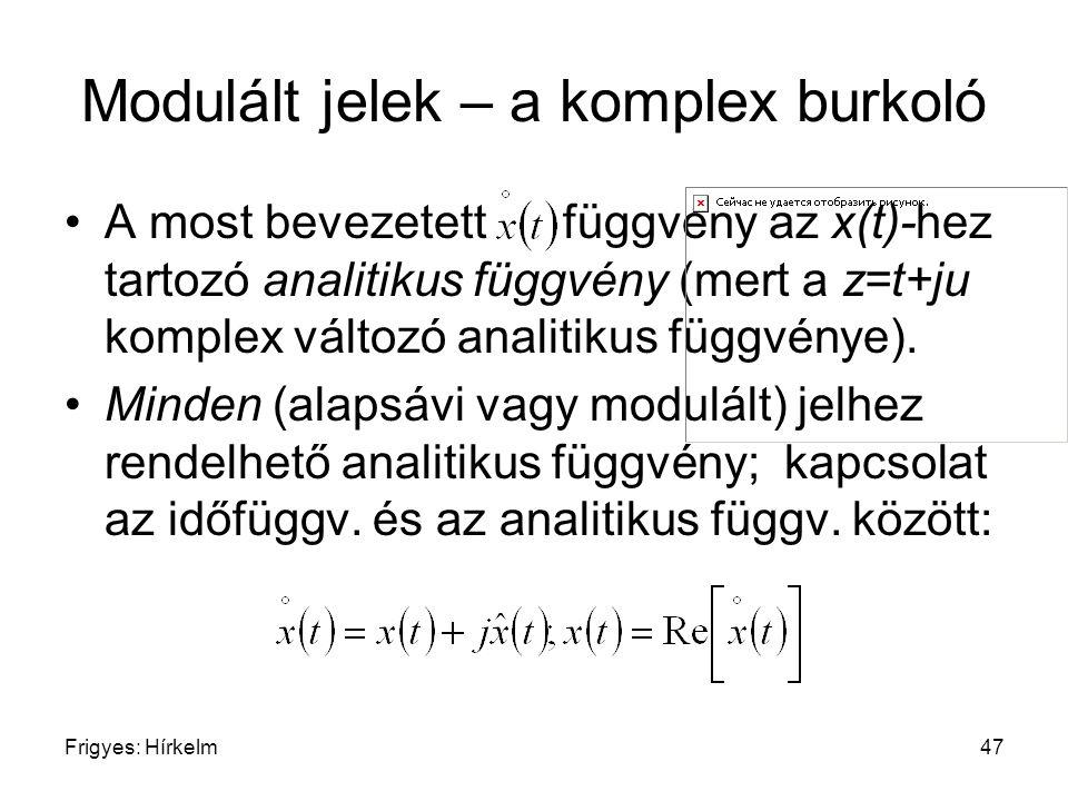 Frigyes: Hírkelm47 Modulált jelek – a komplex burkoló A most bevezetett függvény az x(t)-hez tartozó analitikus függvény (mert a z=t+ju komplex változ