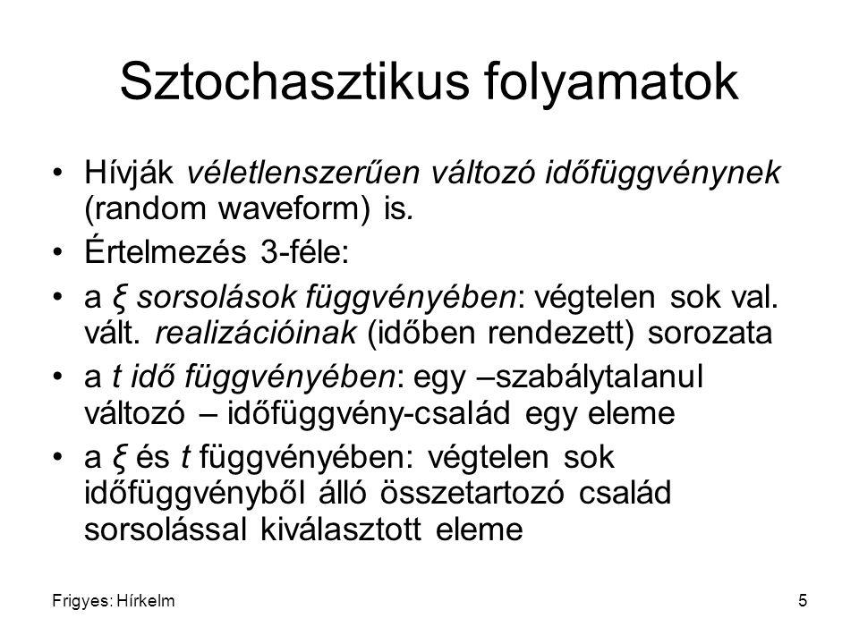 Frigyes: Hírkelm6 Sztochasztikus folyamatok Példa: t ξ f(t,ξ 1 ) f(t,ξ 2 ) f(t,ξ 3 ) f(t 1,ξ)f(t 2,ξ) f(t 3,ξ) 1 2 3
