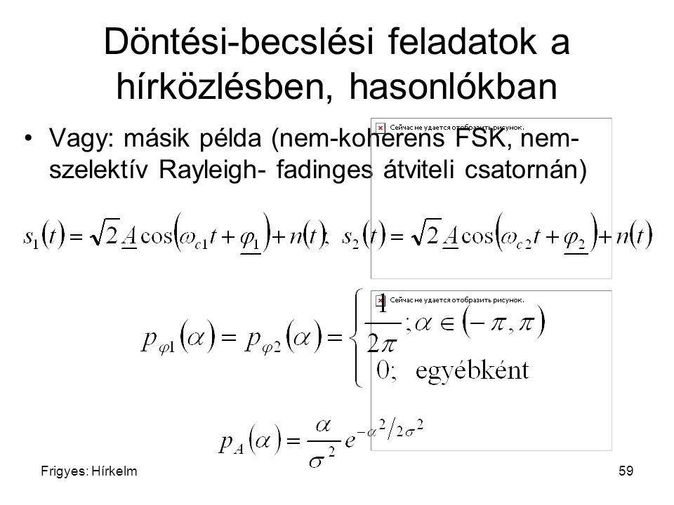 Frigyes: Hírkelm59 Döntési-becslési feladatok a hírközlésben, hasonlókban Vagy: másik példa (nem-koherens FSK, nem- szelektív Rayleigh- fadinges átvit