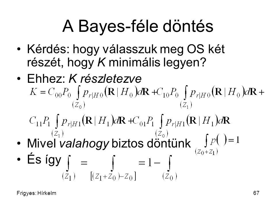 Frigyes: Hírkelm67 A Bayes-féle döntés Kérdés: hogy válasszuk meg OS két részét, hogy K minimális legyen? Ehhez: K részletezve Mivel valahogy biztos d