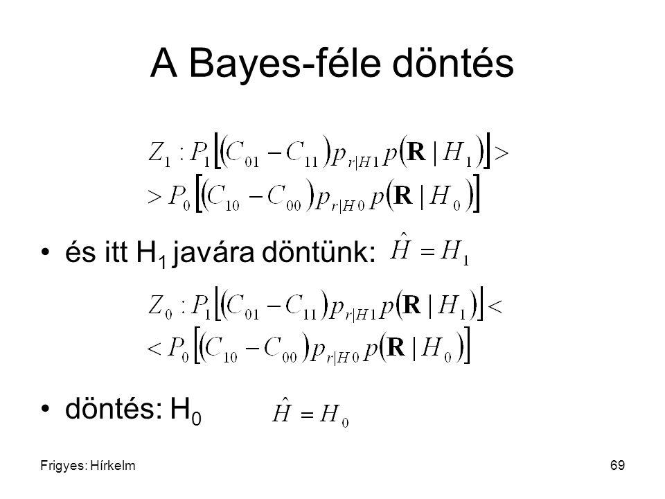 Frigyes: Hírkelm69 A Bayes-féle döntés és itt H 1 javára döntünk: döntés: H 0