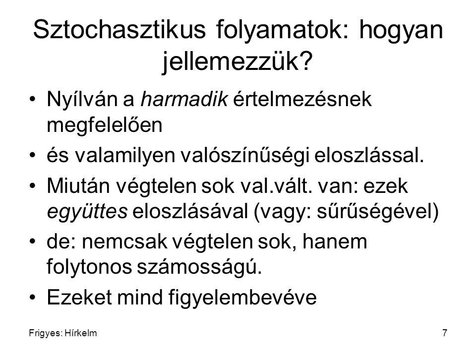 Frigyes: Hírkelm8 Sztochasztikus folyamatok: hogyan jellemezzük.