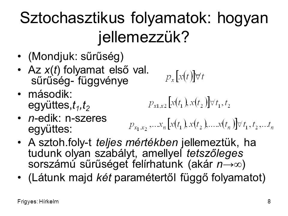 Frigyes: Hírkelm8 Sztochasztikus folyamatok: hogyan jellemezzük? (Mondjuk: sűrűség) Az x(t) folyamat első val. sűrűség- függvénye második: együttes,t