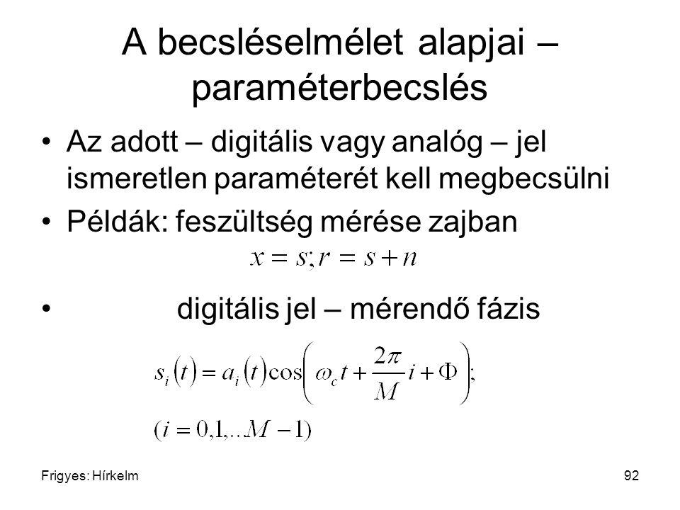 Frigyes: Hírkelm92 A becsléselmélet alapjai – paraméterbecslés Az adott – digitális vagy analóg – jel ismeretlen paraméterét kell megbecsülni Példák: