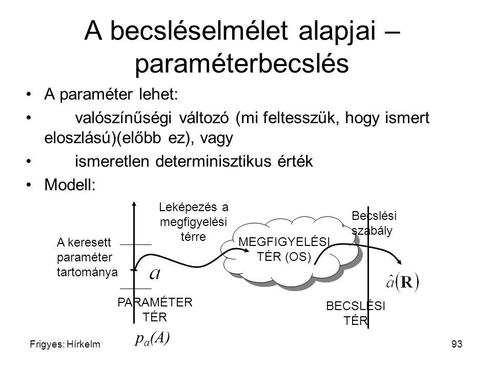 Frigyes: Hírkelm93 A becsléselmélet alapjai – paraméterbecslés A paraméter lehet: valószínűségi változó (mi feltesszük, hogy ismert eloszlású)(előbb e