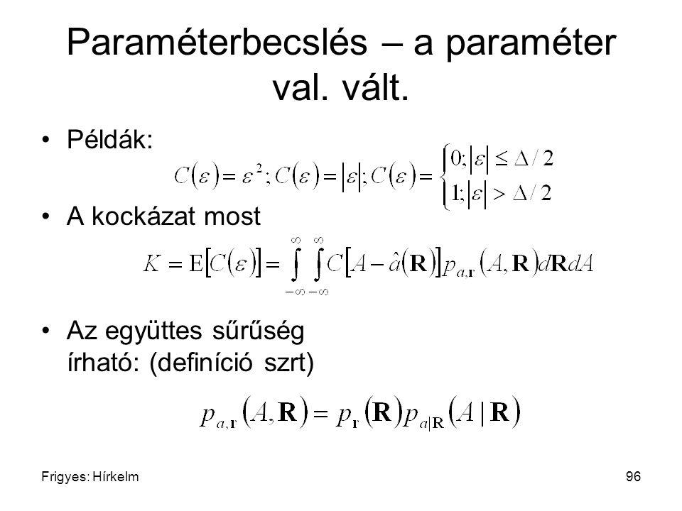 Frigyes: Hírkelm96 Paraméterbecslés – a paraméter val. vált. Példák: A kockázat most Az együttes sűrűség írható: (definíció szrt)
