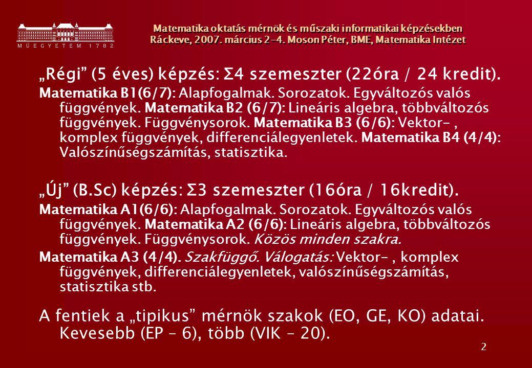 3 Matematika oktatás mérnök és műszaki informatikai képzésekben Ráckeve, 2007.